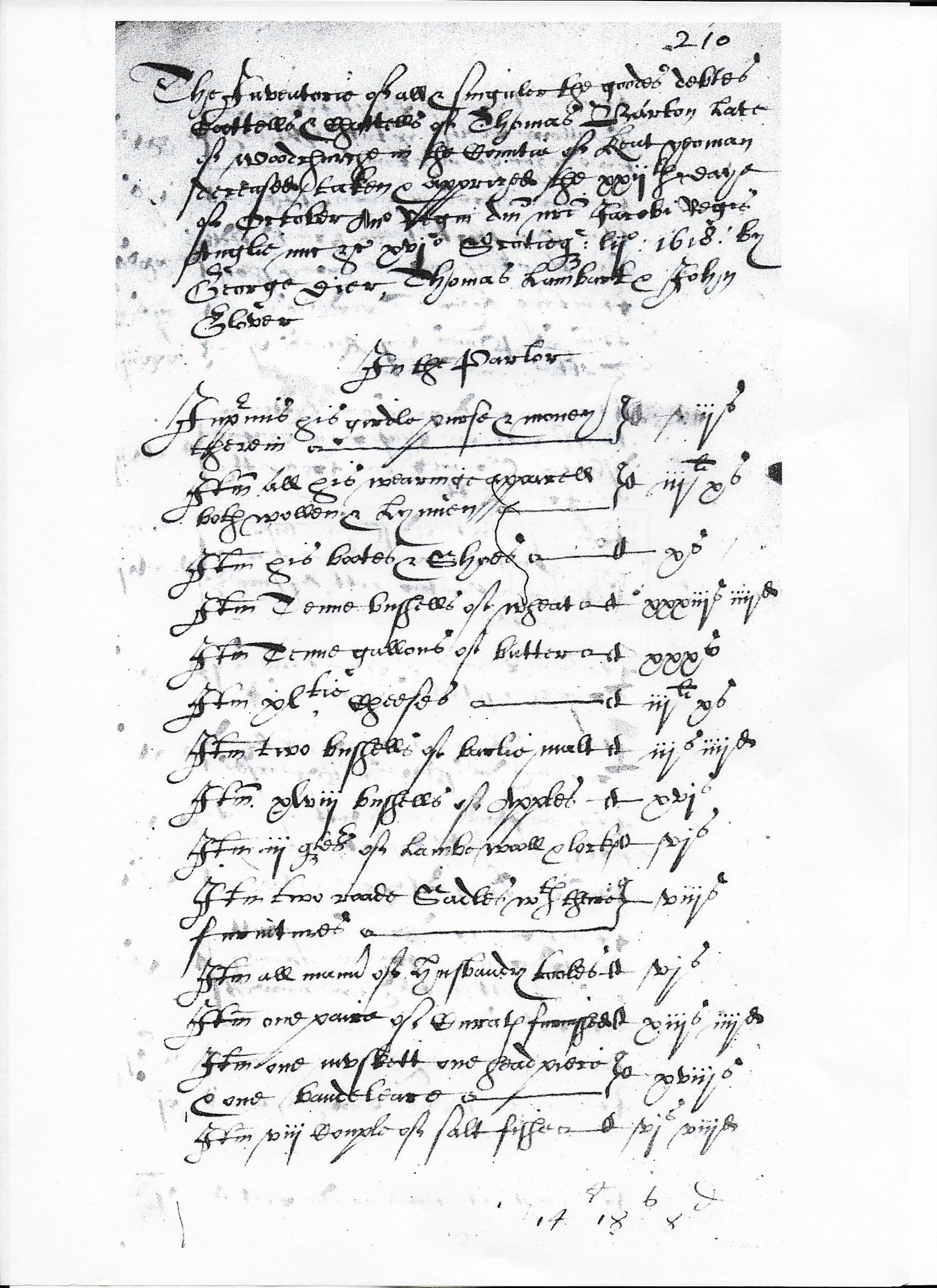 Thomas Barton (   -bur1618) Inventory of Estate